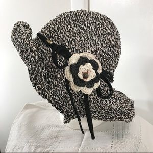 Black White Woven Hat with Flower Accent